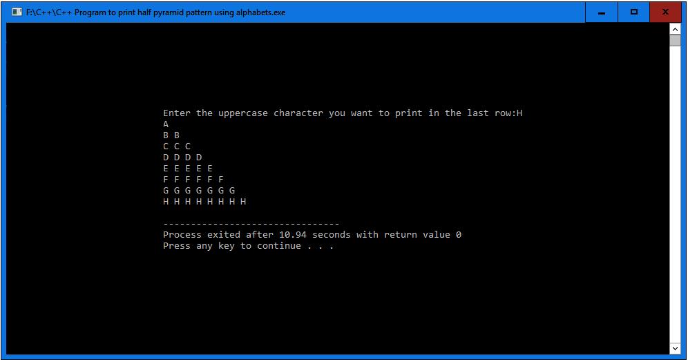 C++ Program to print half pyramid pattern using alphabets