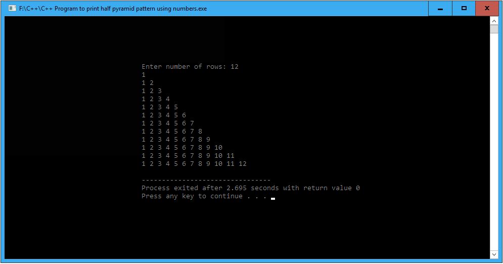 C++ Program to print half pyramid pattern using numbers