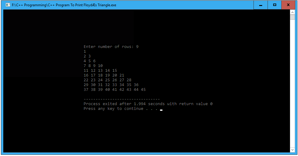 C++ program to print Floyd's triangle